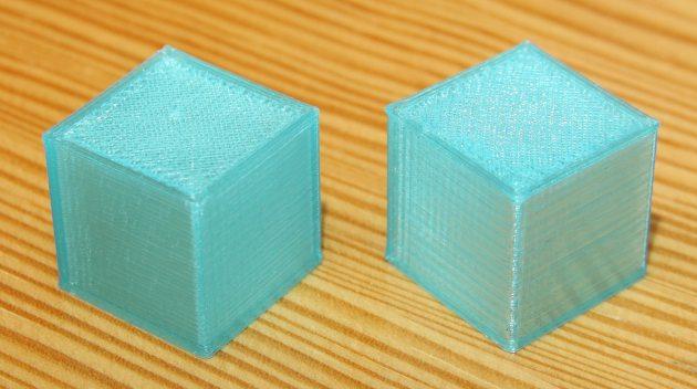 Kostki wydrukowane z PET-G - z i bez chłodzenia