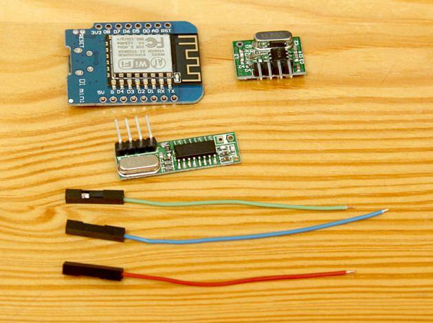 Zestaw części - d1 mini, nadajnik 433MHz, odbiornik 433MHz